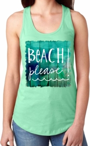 Beach Please! Tank Top/Nautical/Beach Women�s Tank Top/Vintage Aqua Beach Racerback Tank Top