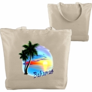 Beach Tote/Custom Tote Bag, Custom Tropical Beach Tote, Beach Bag, Beach Sunset With Palm Trees, Monogrammed/Personalized Name