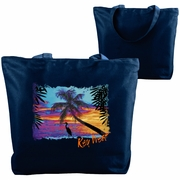 Beach Tote/Custom Tote Bag, Custom Tropical Beach Tote, Beach Bag, Beach Sunset With Pelican/Palm Trees, Monogrammed/Personalized Name, Resort