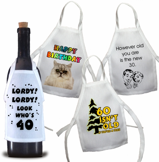 Birthday Bottle Aprons For Wine, Spirits, Craft Beer, Coffee Syrups and Cooking Oils