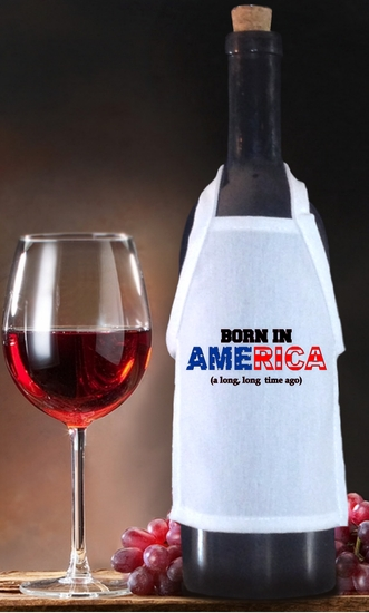 Born In America Birthday Bottle Apron For Wine, Spirits, Craft Beer, Coffee Syrups and Cooking Oils