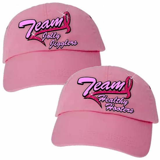 Breast Cancer Team Hat/Custom Team Hat/Ribbon Pink Baseball Hat/Breast Cancer Walk Hat/Personalized Pink Hat/Personalized Team Name