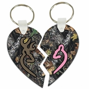 Browning Buck And Doe Oak Camo Split Heart Aluminum Key Tags/Keychains/Key Charms