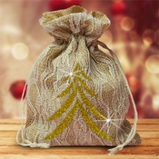 Burlap And Ivory Lace Large Christmas Gift Favor Bag/Gold Christmas Tree Gift Bag/Rustic Burlap Christmas Gift/Glitter Christmas Tree