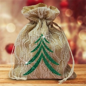 Burlap And Ivory Lace Large Christmas Gift Favor Bag/Green Christmas Tree Gift Bag/Rustic Burlap Christmas Gift/Glitter Christmas Tree