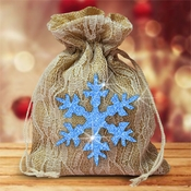 Burlap And Ivory Lace Large Christmas Gift Favor Bag With Glitter Blue Snowflake /Rustic Burlap Christmas Gift/Glitter Snowflake/Country Burlap Bag