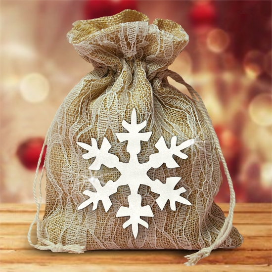 Burlap And Ivory Lace Large Christmas Gift Favor Bag With Glitter White Snowflake /Rustic Burlap Christmas Gift/Glitter Snowflake/Country Burlap Bag
