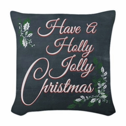Chalkboard Holly Jolly Christmas Square Throw Pillow