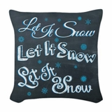 Chalkboard Let It Snow Holiday Square Throw Pillow
