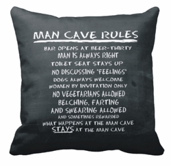Chalkboard Man Cave Rules Square Throw Pillow