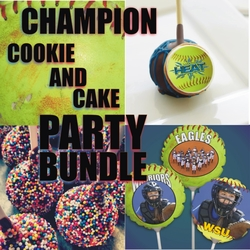 Champion Fastpitch Softball Personalized Cookie And Cake Treats Party Bundle