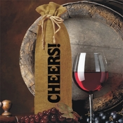 Cheers! Burlap Drawstring Wine and Champagne Bottle Gift Bag