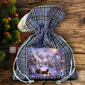 Christmas Plaid Bag/ Winter Christmas Town/ Horse Drawn Sleigh Ride Plaid Gift Bag With Glitter/ Rustic Blue Plaid/ Red Plaid Holiday Bag