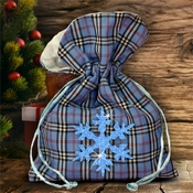 Christmas Plaid Fabric Gift Bag/ Country Christmas Plaid Gift Bag With Glitter Blue Snowflake/ Rustic Red Plaid/ Blue Plaid Christmas Bag