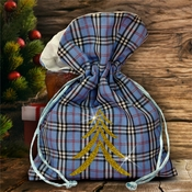 Christmas Plaid Fabric Gift Bag/ Country Christmas Plaid Gift Bag With Glitter Gold Christmas Tree/ Rustic Blue Plaid/ Red Plaid Favor Bag