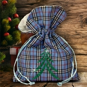Christmas Plaid Fabric Gift Bag/ Country Christmas Plaid Gift Bag With Glitter Green Christmas Tree/ Rustic Blue Plaid/Red Plaid Christmas Bag