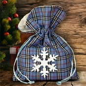 Christmas Plaid Fabric Gift Bag/ Country Christmas Plaid Gift Bag With Glitter White Snowflake/ Rustic Red Plaid/ Blue Plaid Christmas Bag