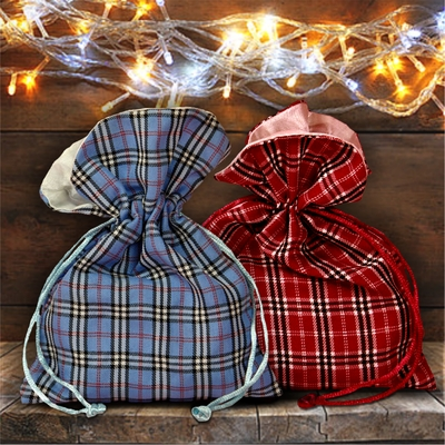 Christmas Plaid Gift Bag/ Country Snowman And Cardinal Christmas Plaid Gift Bag With Glitter/ Rustic Blue Plaid/ Red Plaid Holiday Fabric Bag