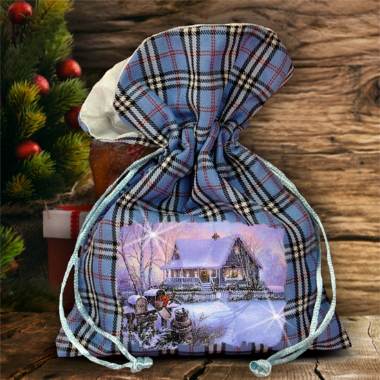 Christmas Plaid Gift Bag/ Winter Country Christmas Cottage Plaid Gift Bag With Glitter/ Rustic Blue Plaid/ Red Plaid Holiday Fabric Bag
