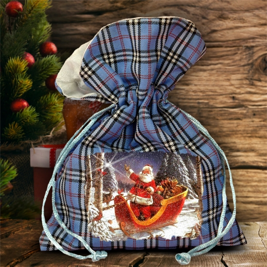 Christmas Plaid Gift Bag/ Winter Santa And Sleigh In The Woods Plaid Gift Bag With Glitter/ Rustic Blue Plaid/ Red Plaid Holiday Fabric Bag