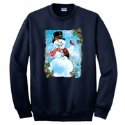 Christmas Sweatshirt/Holiday Snowman Sweatshirt/ Winter Country Mountain Scene Snowman With Cardinals Fleece Sweatshirt/Christmas Sweater