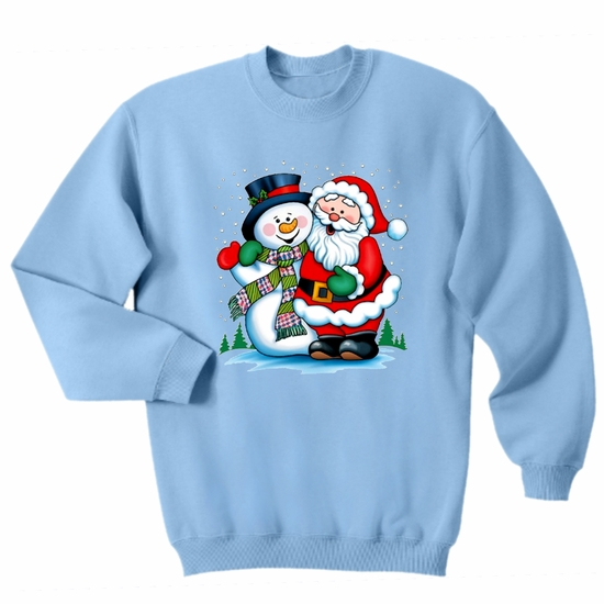Christmas Sweatshirt/ Santa And Snowman Sweatshirt/Santa Christmas Fleece Sweatshirt/Frosty The Snowman Winter Adult Christmas Sweater