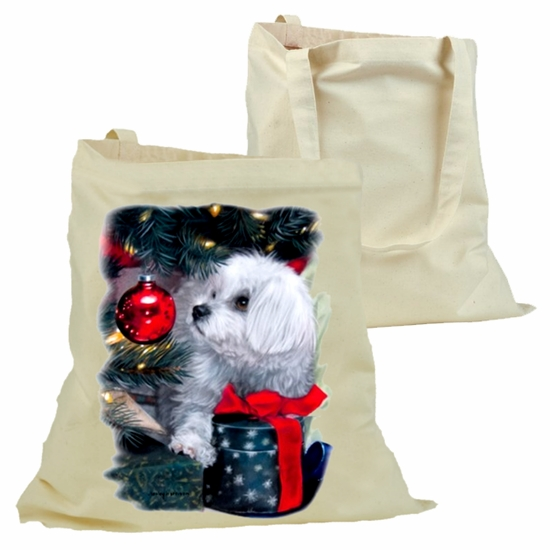 Christmas Tote Bag/Christmas Puppy Cotton Canvas Tote Bag/Christmas Tree, Ornament, Presents And Puppy Dog Cotton Canvas Holiday Tote Bag