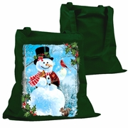 Christmas Tote Bag/Holiday Snowman Canvas Tote Bag/Winter Country Mountain Scene Snowman With Cardinals Cotton Canvas Holiday Bag