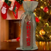 Christmas Wine Bottle Gift Bag/Cheers Holiday Bottle Bag/Red Glitter Gift Bag/Organza Wine Bottle Gift Bag/Holiday Cheers Hostess Gift Bag
