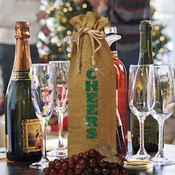 Christmas Wine Bottle Gift Bag/Cheers Holiday Burlap Bottle Bag/Green Glitter Gift Bag/Burlap Wine Bottle Gift Bag/Holiday Hostess Gift Bag