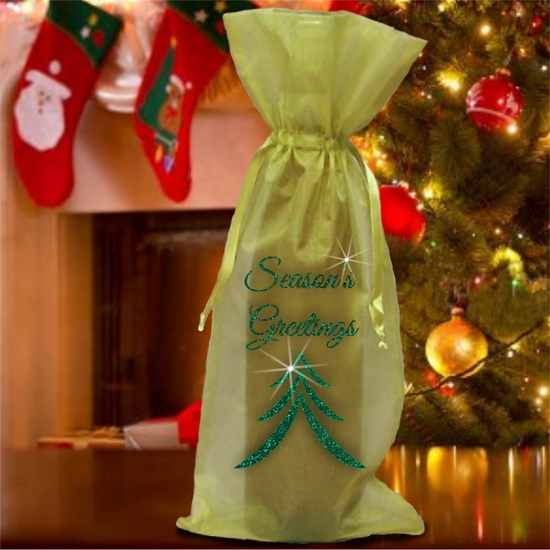 Christmas Wine Bottle Gift Bag/Christmas Tree Holiday Bottle Bag/Green Glitter Season's Greetings/Organza Wine Bottle Gift Bag