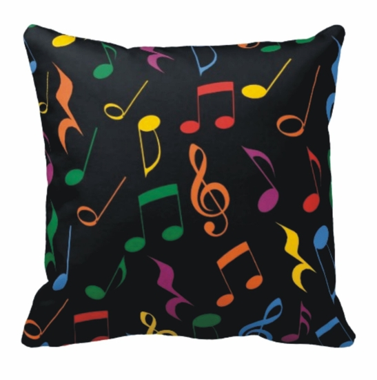 Colorful Music Notes Square Throw Pillow