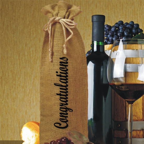Congratulations Burlap Drawstring Wine and Champagne Bottle Gift Bag