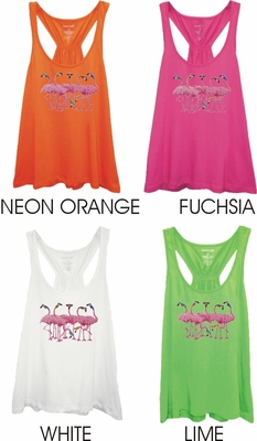 Cool Tropical Pink Pelicans With Sunglasses Women's Racer back Flare Tank