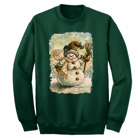 Country Christmas Sweatshirt/Shabby Chic Holiday Snowman Sweatshirt/Vintage Style Country Snowman Holiday Sweatshirt