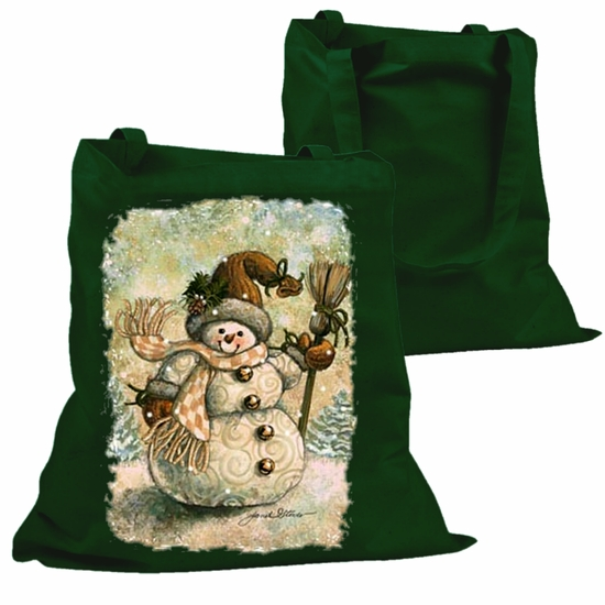 Country Christmas Tote Bag/Shabby Chic Holiday Snowman Canvas Tote Bag/Vintage Style Country Snowman Cotton Canvas Holiday Bag
