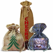 Decorated Plaid, Burlap, Lace, Satin Gift Bags And Party Favor Bags