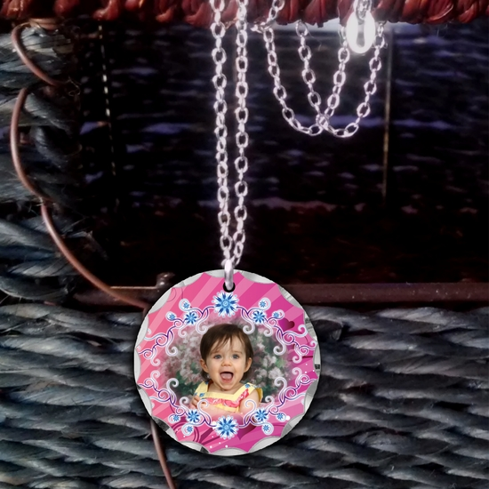 Delicate Blue Button Posies Personalized Photo Necklace