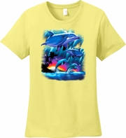 Dolphin Shirt/Sunset Dolphins T-Shirt, Playful Dolphins T-Shirt/Dolphin Lovers T-Shirt/Dolphin Lovers Gift/Dolphin Themed Gift/Beach Dolphin