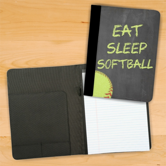Eat Sleep Softball Chalkboard Style Fastpitch Softball Notebook/Padfolio With Personalization Option