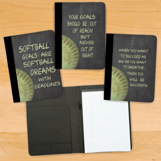 Fastpitch Softball Chalkboard Motivational Notebook/Padfolio With Personalization Option