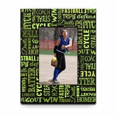 Fastpitch Softball Game Chalkboard Words Picture Frame For A 5X7 Picture
