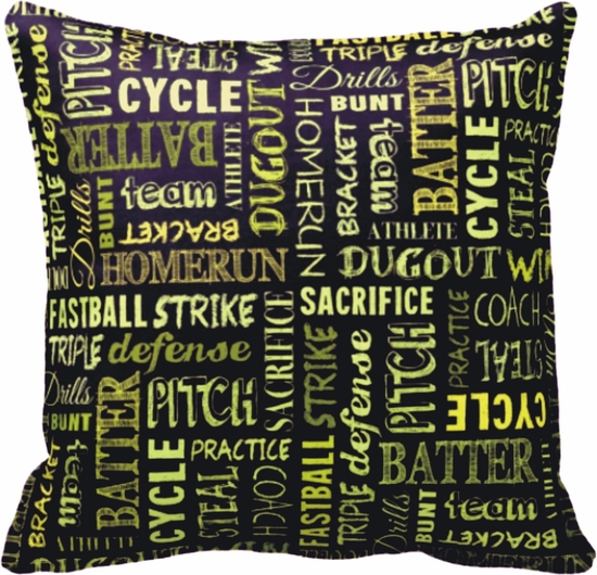 Fastpitch Softball Game Chalkboard Words Square Throw Pillow