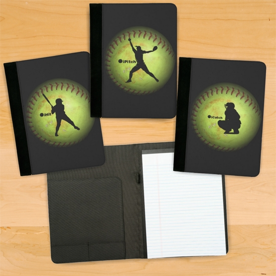 Fastpitch Softball iCatch/iPitch/iHit Player Notebook/Padfolio With Personalization Option