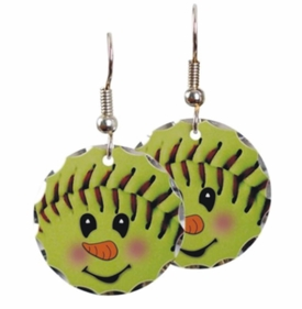 Fastpitch Softball Snowman Earrings