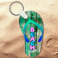 Flip Flop Keychain/Flip Flop Beach Please Key Charm/Beach Please Flip Flop Shaped Aluminum Keychain