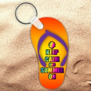 Flip Flop Keychain/Flip Flop Keep Calm Key Charm/Keep Calm And Summer On Flip Flop Shaped Aluminum Keychain