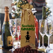 Funny Christmas Grinch Wine Bottle Gift Bag/Somebody's Fabulous Grinch Silhouette Burlap Bottle Bag/Grinch Gift Bag/Bottle Hostess Gift Bag