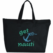 Get Nauti Glitter Nautical Anchor Large Zipper Tote Bag