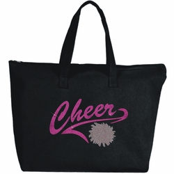 Glitter Confetti And Pink Athletic Tail With Pom Cheer Large Zipper Tote Bag